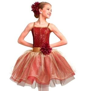 Curtain Call Ballet costume in red, orange & gold